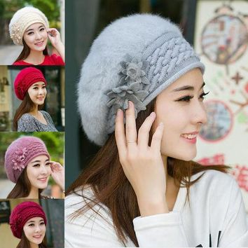 Fashion 5 Colors New Warm Winter Flower Rabbit Hair Hat Knit Beret Hat Clothing Accessories Christmas Gift