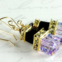 Violet and Mocca Swarovski Crystal Earrings, Cube Crystals, Gold Filled