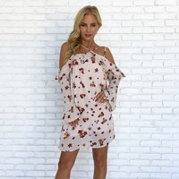 Catch Me Floral Shift Dress in Pale Pink