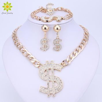 Gold Color Hip Hop Bling Bling Dollar Sign Pendant Jewelry Set Dollar With Rhinestone Pendant Necklace Earrings Ring Bracelet