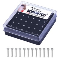 BodyJ4You Nose Rings Bone Clear Gem Stud 20G Surgical Steel Case Piercing Jewelry 24 Pieces