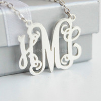 Monogram Necklace-- 2'' inch initials  monogram necklace,925 sterling silver monogram necklace