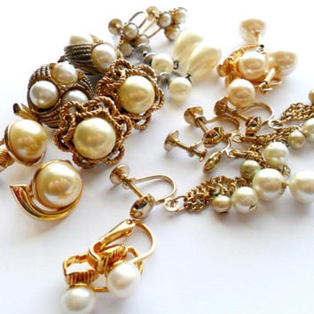 Faux Pearl Earring Lot Vintage Clip On Screw Back Signed Marvella Gold Silver Tone Glass Plastic Costume Instant Collection