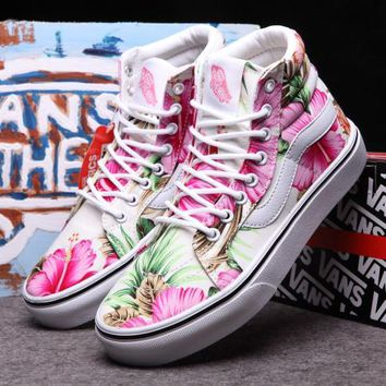 Vans Fashion Flower Print High-Top Flats Shoes Sneakers Sport Shoes