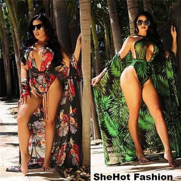 Women Sexy Floral Print Two Piece Bathing Suit Bikini + Cover Up