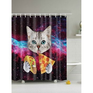 Cat & Pizza Shower Curtain 1pc With Hook 12pcs
