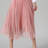 Pink High Waist Sheer Mesh Pleated Skirt