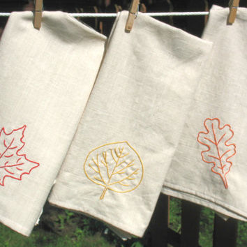 Fall Dish Towel Set, kitchen towels, dish towels, kitchen linens, autum decor, housewarming gift, hostess gift