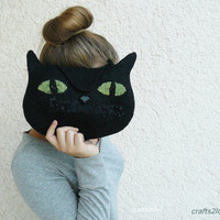 Felted purse Black Cat bag. Halloween trick or by Crafts2Love
