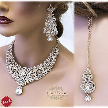 Gold Vintage Inspired Crystal Bridal Jewelry Set