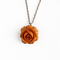 Vintage Carved Bakelite Rose Necklace - 1930s Art Deco Brass Tone Chain Butterscotch Brown Orange Flower Floral Fob Charm Jewelry