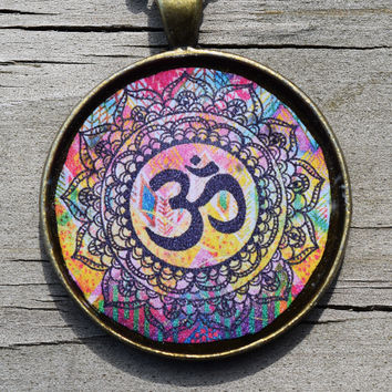 OM Necklace - Beautiful Rainbow Colored Resin Pendant Necklace - Ohm Meditation Yoga Chakra Symbol