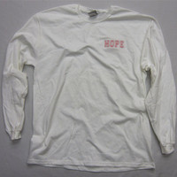 Breast Cancer Awareness Hope Long Sleeve White TShirt by BWGraph