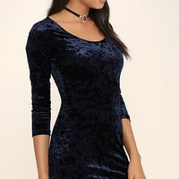 Deja Vu Navy Blue Bodycon Dress