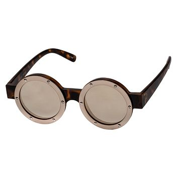 Le Specs Porthole Tort & Brushed Light Gold Sunglasses