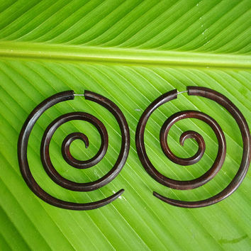 Fake Gauge Large Spiral Wooden Earrings, Sono Wood, Beautiful Fake Wooden Gauge