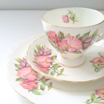 Vintage Royal Tuscan Birthday Flowers April's Sweet Pea Pattern Fine Teacup, Saucer and Plate Trio Bone China Made in England Tea Party