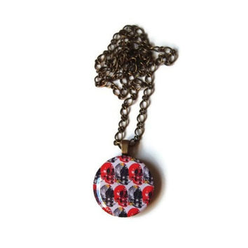 Skull Charm Necklace - FREE shipping to USA 1 inch round resin dome pendant wood emo goth cute art skulls red black abstract print pattern