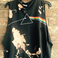 PINK FLOYD large bleach tie dyed , distressed, rock n roll shirt distressed grunge, concert wear, rock shirt