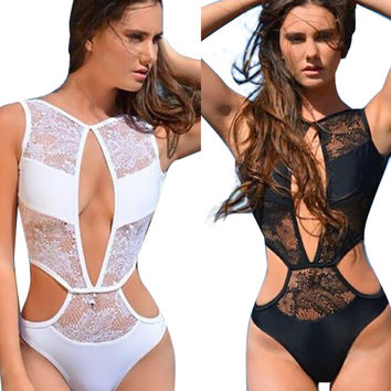 2017 Sexy Womens Lace Mesh Sheer One Piece Swimsuit Hollow Out Monokini Swimwear One-Piece Bathing Suits Backless Bodysuit S-XXL