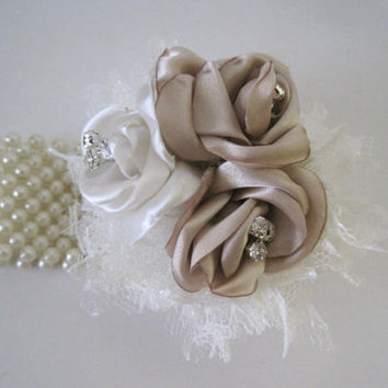 Corsage Bracelet Three Satin Rose Buds with Lace Collar Choose Your Style Bracelet Mother of Bride Shower Prom with Rhinestone Accents.