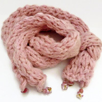 Knitting scarf, pink chunky soft butterfly beaded knit scarf,  UK shop