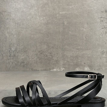 Zoila Black Ankle Strap Flat Sandals
