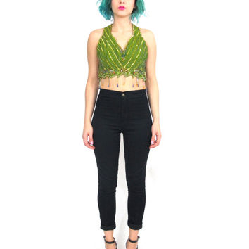 Ethnic Sequin Beaded Fringe Crop Top Strappy Back Halter Top East Indian Sari Cut Out Belly Dancer Hippie Boho Festival Green Bra Top (XS)