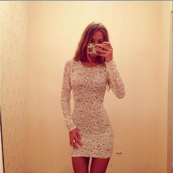 Fashion Lace Long Sleeves Bodycon Mini Dress