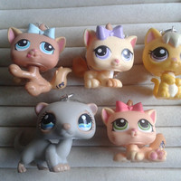 5 pc littlest pet shop cats  keychain keyring set - party favor lot