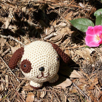 Patches, a Plush Toy Puppy Dog Handmade in a Roly-Poly Amigurumi Style of Crochet