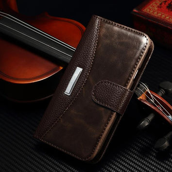 Luxury Classic Flip Case for Samsung Galaxy S3 I9300 SIII with metal Cover Wallet Stand and Card Holder