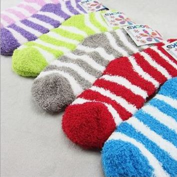 6 Pairs Warm Winter Colorful Fuzzy Socks