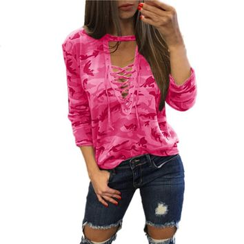 Fashion 2017 New Women Long Sleeve Shirt Slim Casual Camouflage Print Tops Party Bustier Strappy Round Neck crop top blusas