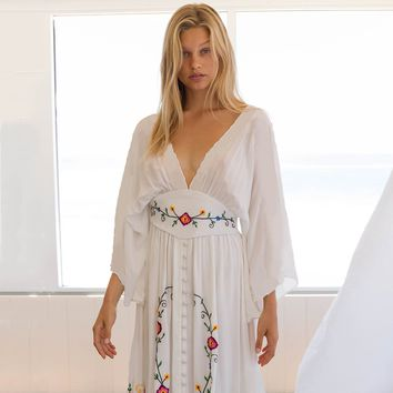 Floral V-Neck Embroidered Maxi Dress Button Front Boho Beach Dresses Batwing Sleeve Casual Women Dress Female Vestidos