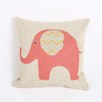 Red Cute Elephant Printed Design For Pillow Cotton Linen Case, Pillow Cushion Case 18 x 18 inches