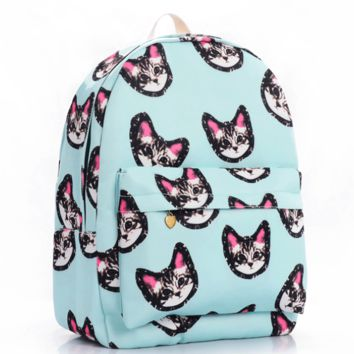 Cats Printed Canvas Backpack College School Bag Travel Daypack