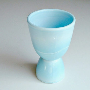 McKee Egg Cup Chalaine Blue Glass Depression Glass Vintage