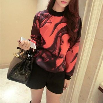 Women Fashion Personality Multicolor Smog Print Loose Long Sleeve Sweater Pullover Tops