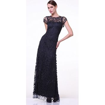Semi Formal Long Lace Black Dress Tea Length Short Sleeve