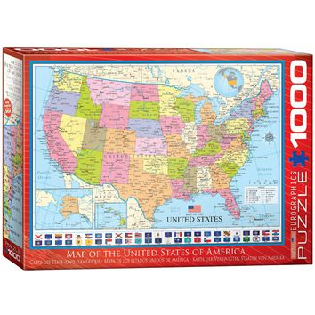 Map of the United States of America - 1000 Piece Jigsaw Puzzle