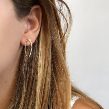 Oval studs earrings , Loop earrings, Raw bras and sterling silver post, hammered, gold color stud,