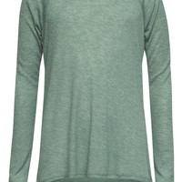 Full Tilt Essential Waffle Knit Girls Raglan Tee Green  In Sizes