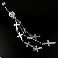 "14g Dangling Cross Belly Button Navel Ring Dangle Body Jewelry Piercing with Clear Gem and Surgical Steel Bar 14 Gauge 3/8"" 7Z ACC Body Jewelry™"
