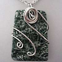 Wire wrapped pendant - Green Spot Agate Trapezoid