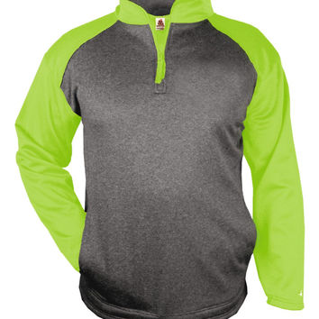 Badger 1484 Sport Heather 1/4 Zip - Carbon Heather Lime