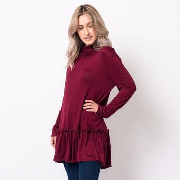 Ruffled Cowl Neck Tunic