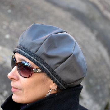 Grey beret for women and men Scandinavian autumn fall hat Beaver nylon fabric Satin rayon lining Decorated with cord