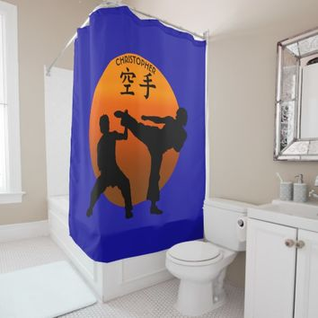 Two Karate Fighters With Rising Sun Shower Curtain