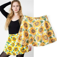 High Rise Print Denim Dress Umbrella Skirt [5013290436]